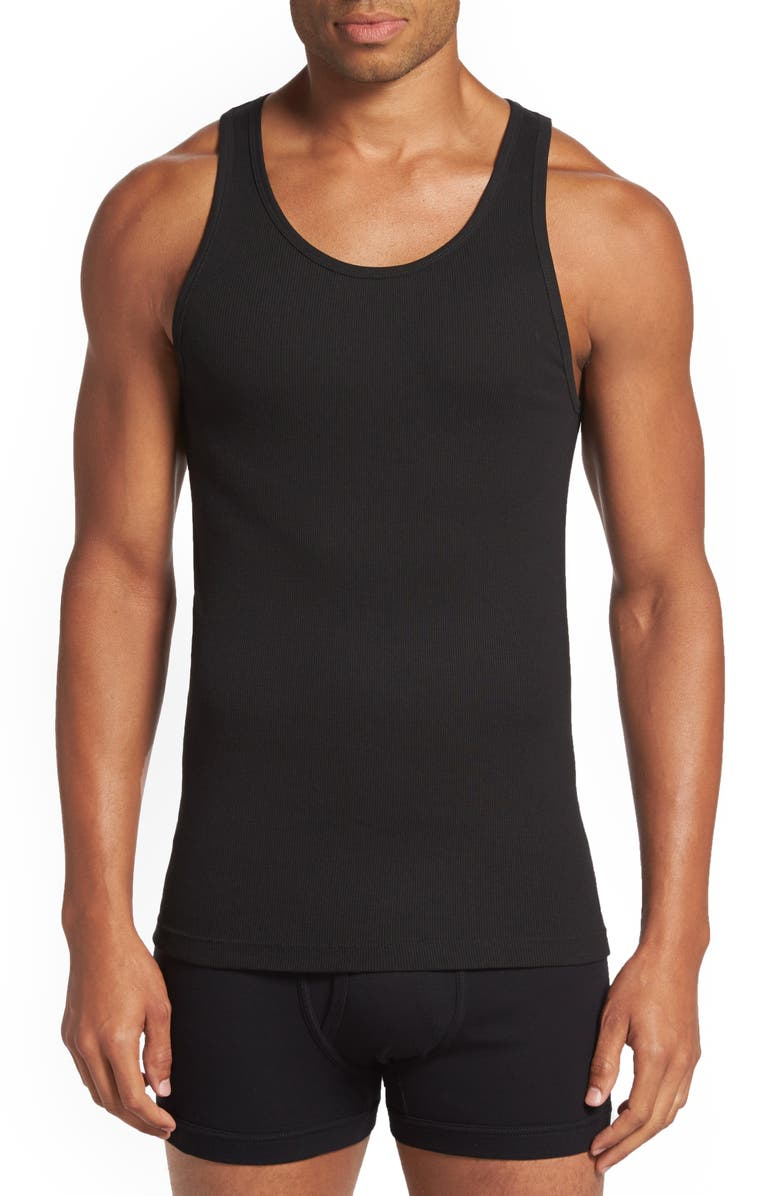 CALVIN KLEIN Classic Fit 3-Pack Cotton Tank Top, Main, color, 001