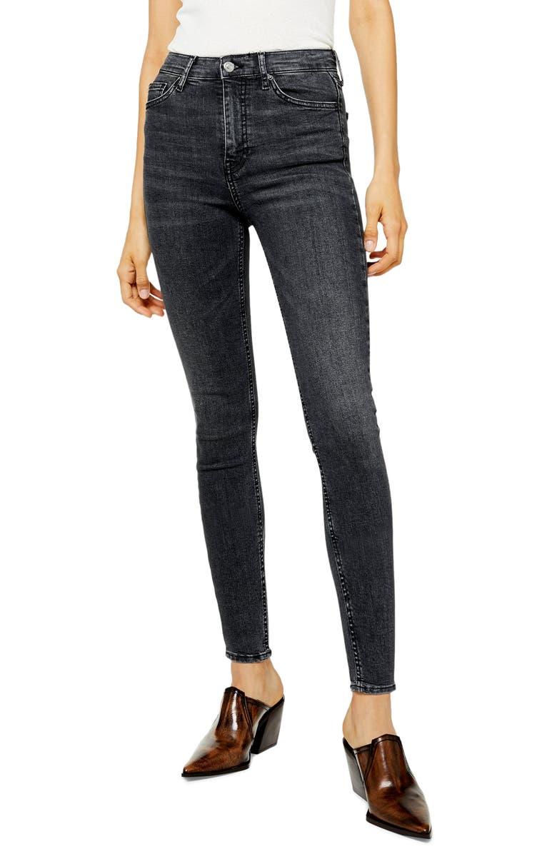 TOPSHOP Jamie Washed Jeans, Main, color, WASHED BLACK