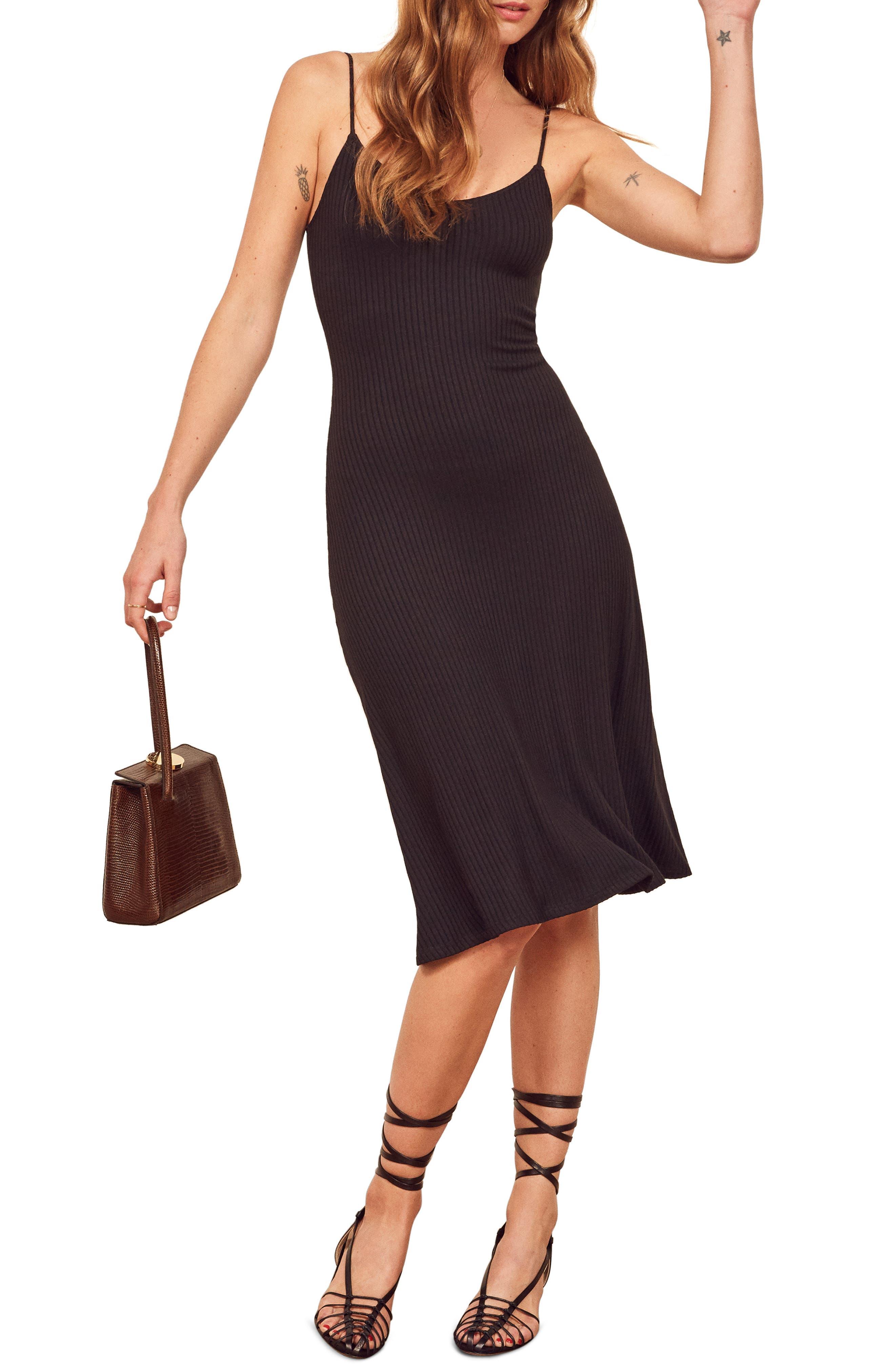 Reformation Shell Ribbed Dress, Black