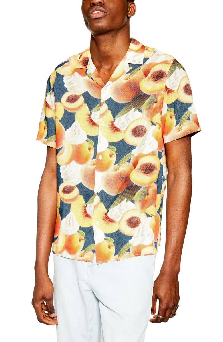 Topman Peaches Cream Print Short Sleeve Button Up Camp Shirt
