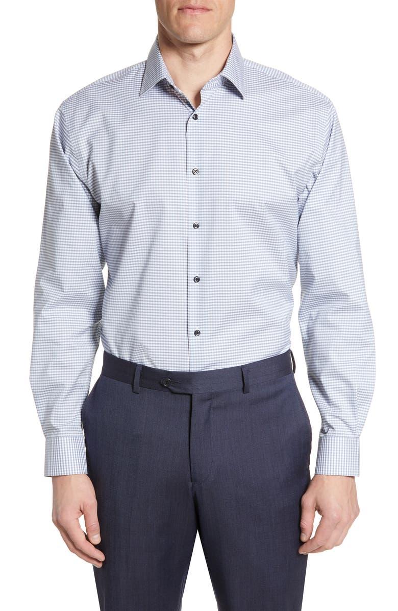 NORDSTROM MEN'S SHOP Traditional Fit Non-Iron Check Dress Shirt, Main, color, BLUE PLACID