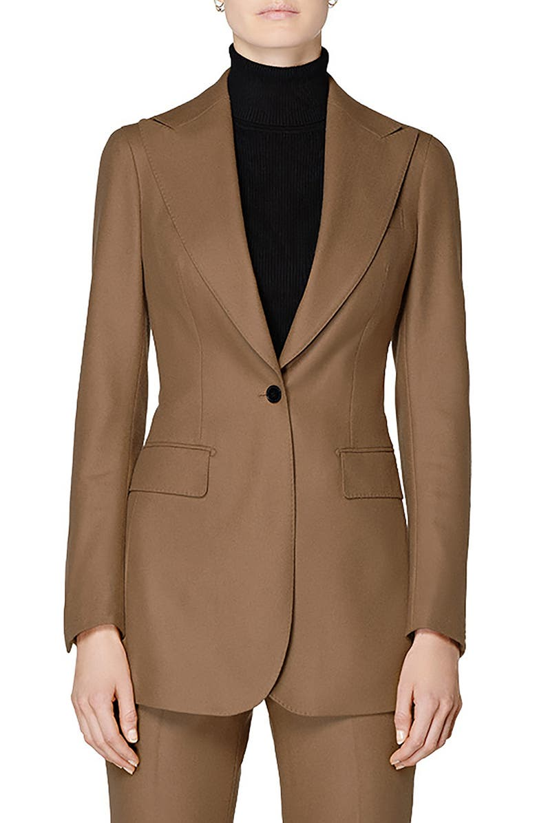 SUISTUDIO Cameron Peak Lapel Long Jacket, Main, color, TABACCO