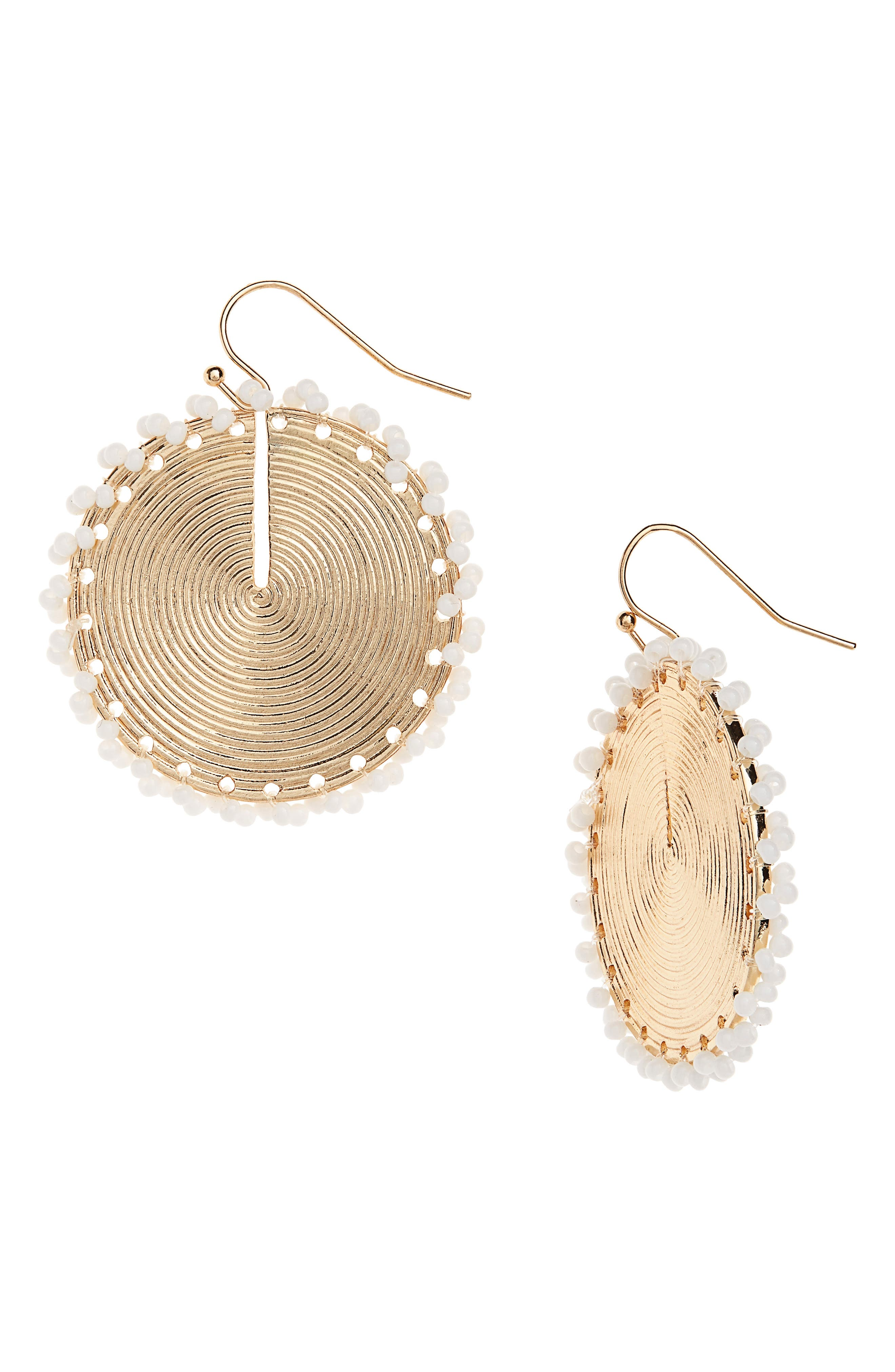 A spiral amps the shine of these disc-drop earrings traced by tiny little beads for fun texture. Style Name: Bp. Seed Bead Disc Drop Earrings. Style Number: 6006951. Available in stores.