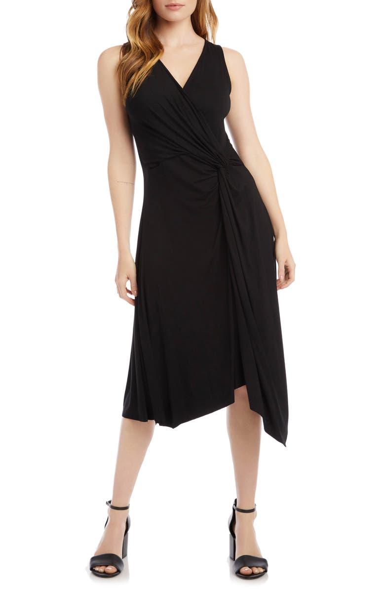 KAREN KANE Asymmetrical Hem Sleeveless Dress, Main, color, BLACK