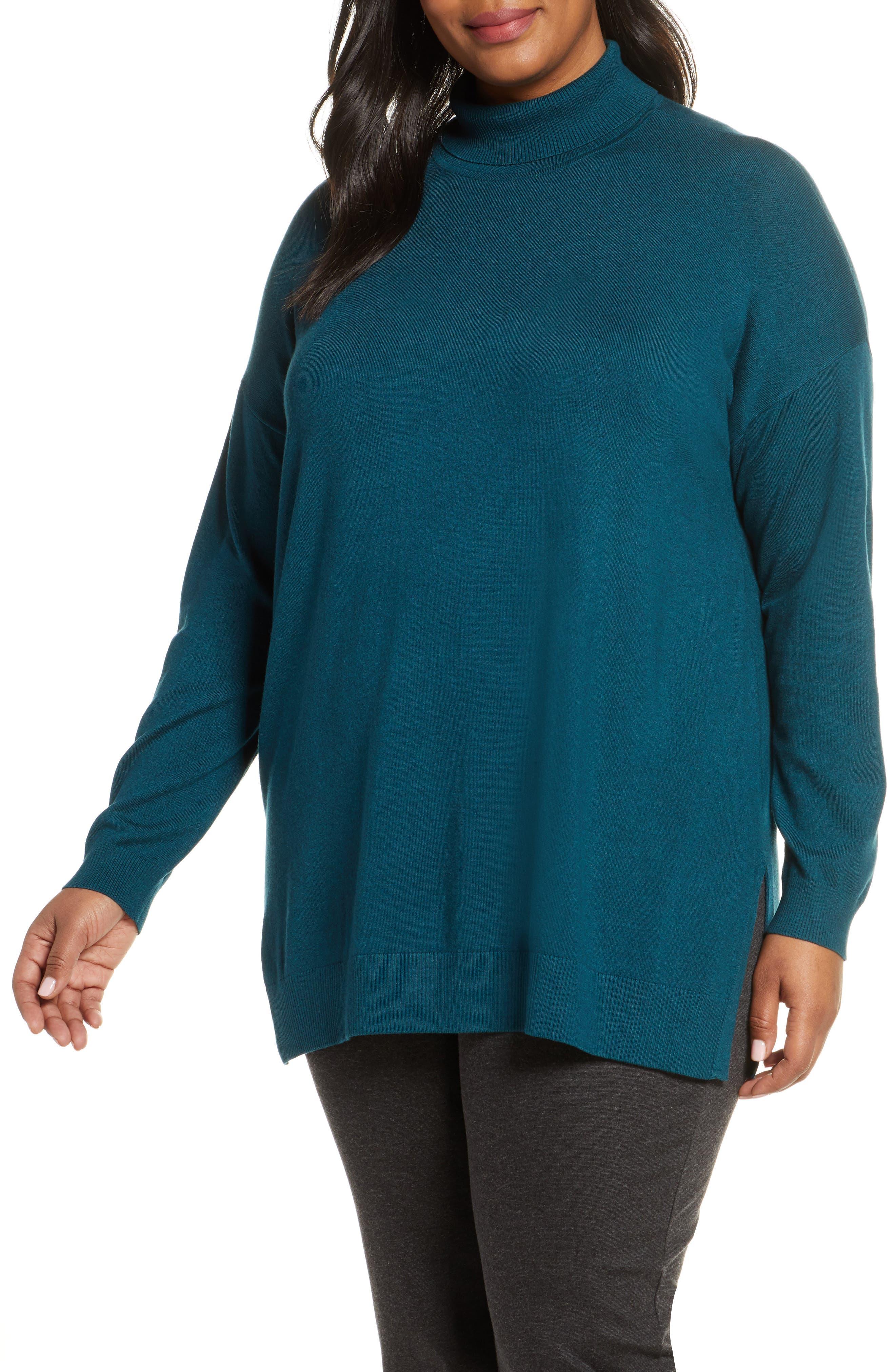 Eileen Fisher Turtleneck Tunic Sweater (Plus Size)