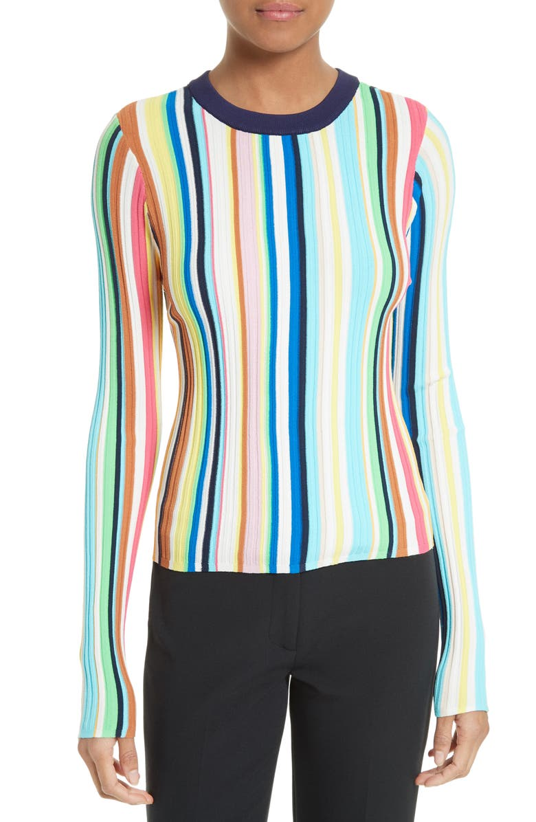 MILLY Vertical Stripe Knit Pullover, Main, color, 400