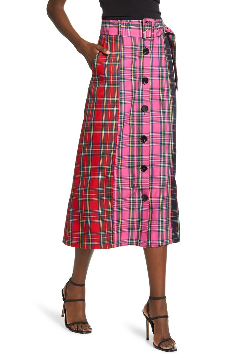 ENGLISH FACTORY Colorblock Plaid Midi Skirt, Main, color, 962