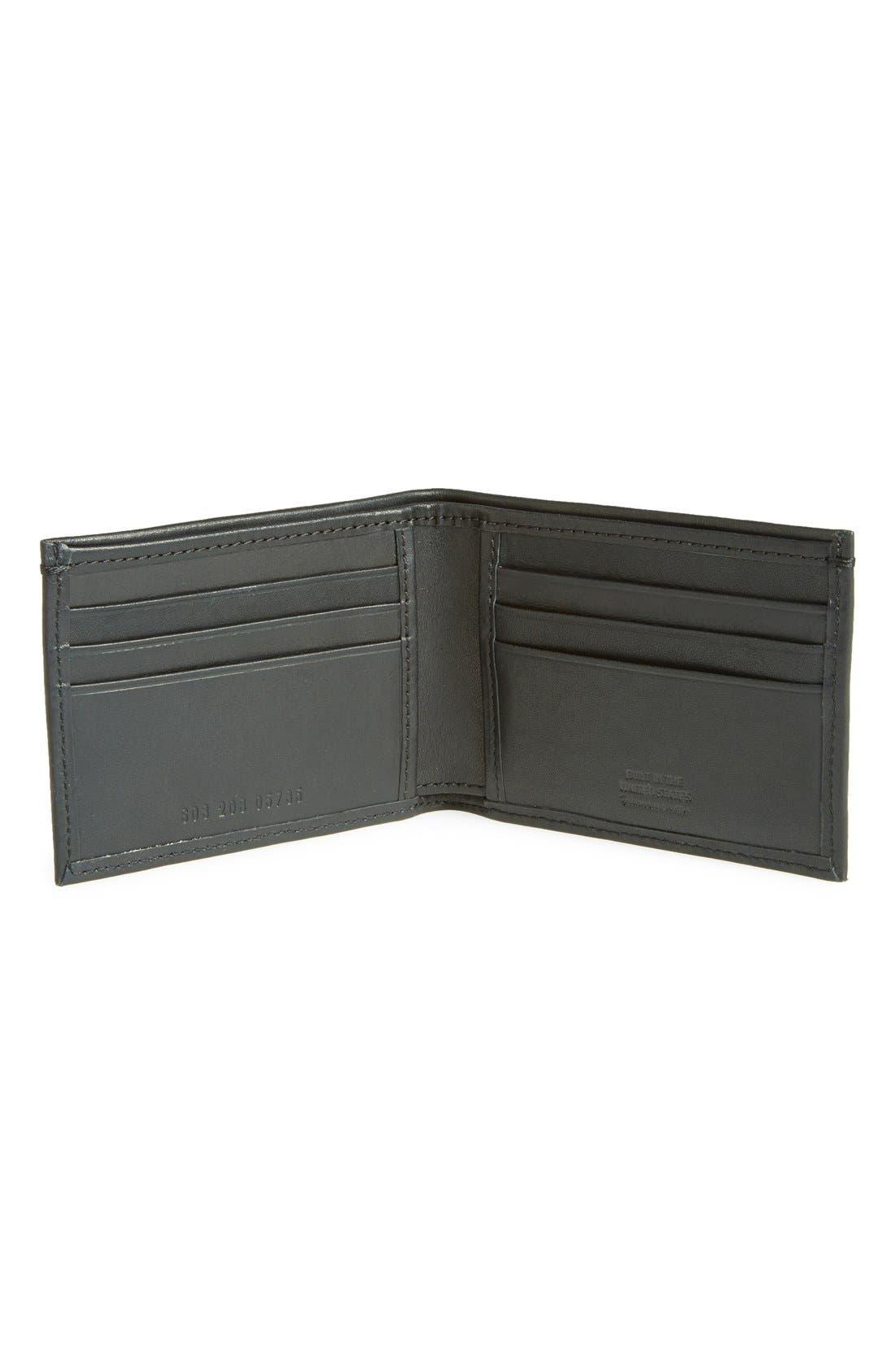 ,                             Slim Bifold Leather Wallet,                             Alternate thumbnail 3, color,                             BLACK