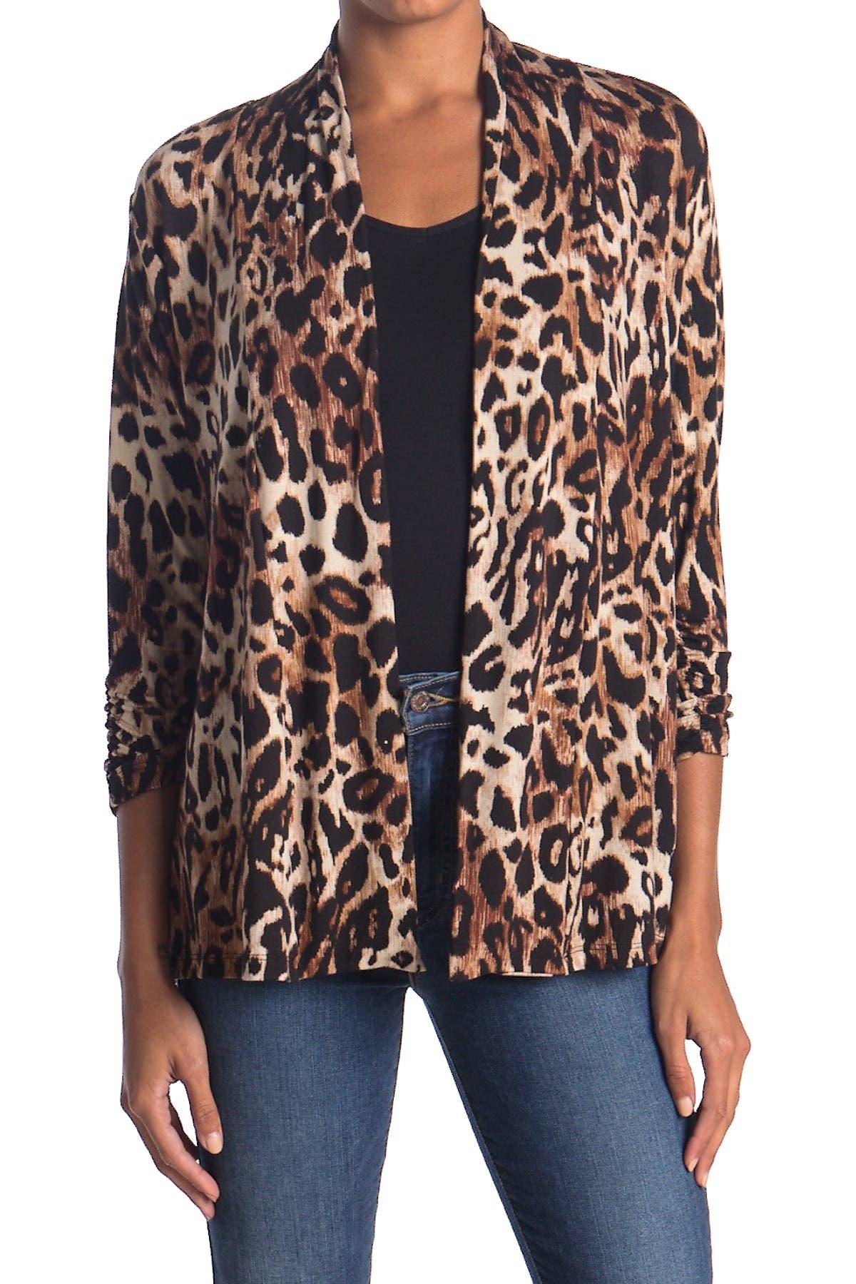 Image of Bobeau Leopard Knit Cardigan