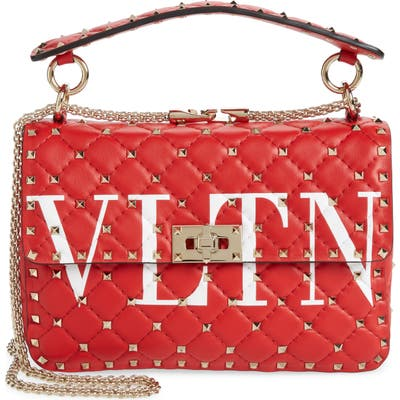 Valentino Garavani Medium Spike. it Vltn Logo Leather Shoulder Bag -