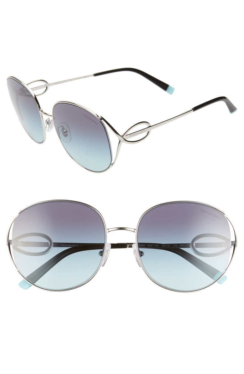 TIFFANY & CO. 56mm Gradient Round Sunglasses, Main, color, SILVER/ AZURE GRADIENT