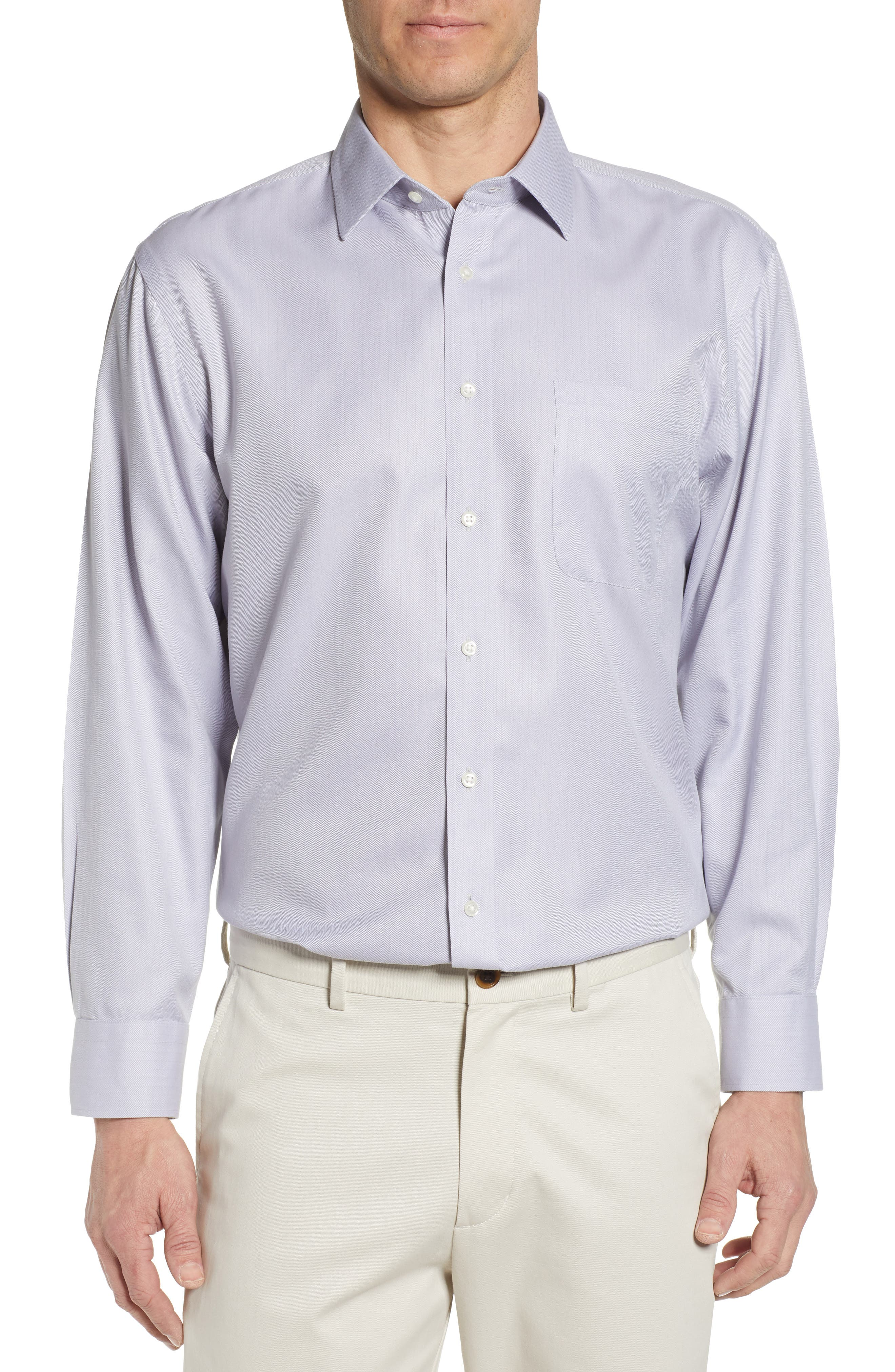Nordstrom Shop Smartcare(TM) Traditional Fit Herringbone Dress Shirt, Grey
