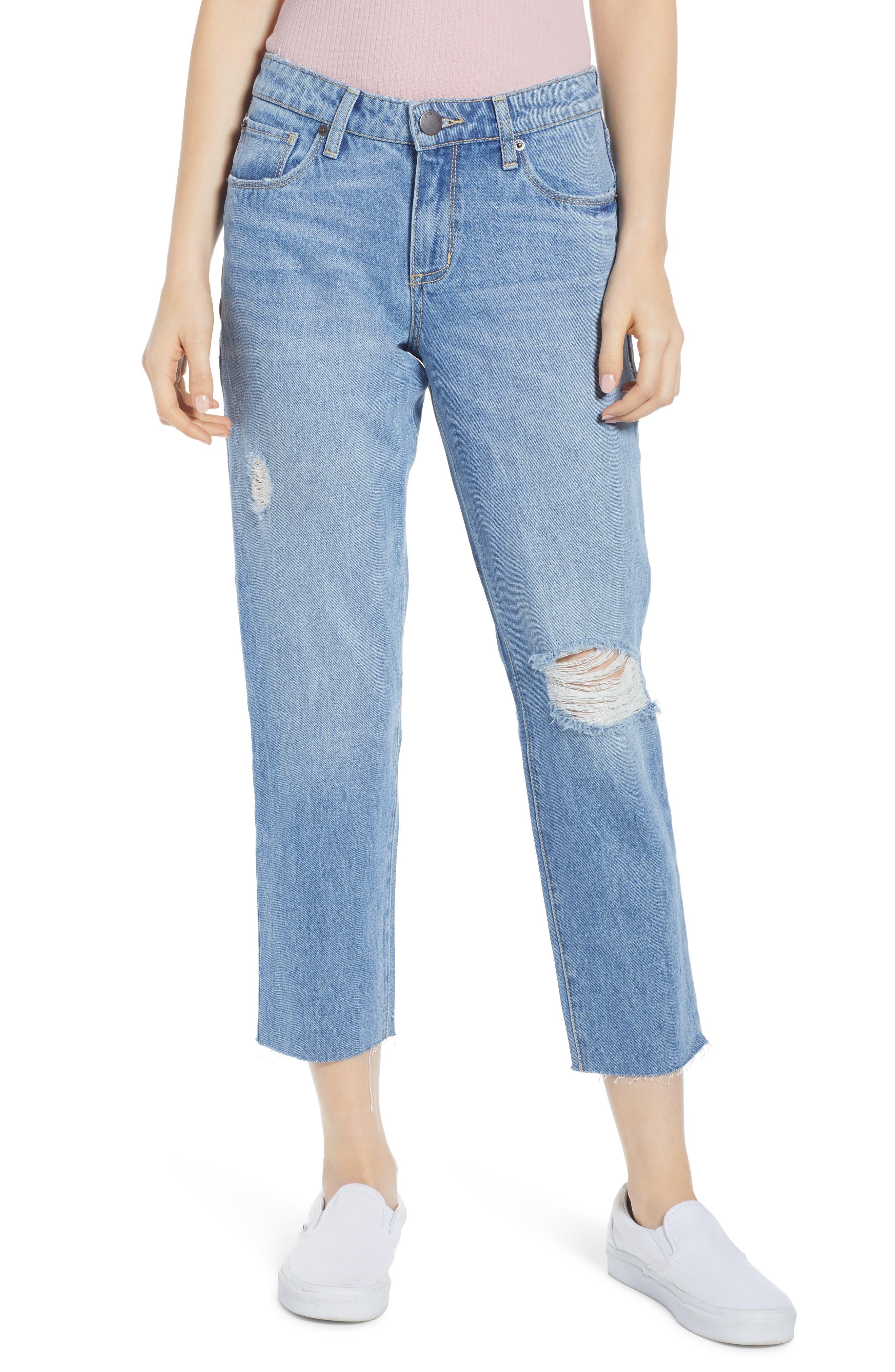 ,                             Cara Ripped Slim Straight Leg Jeans,                             Main thumbnail 1, color,                             400