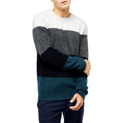 Harlow Classic Fit Colorblock Crewneck Sweater, Blue