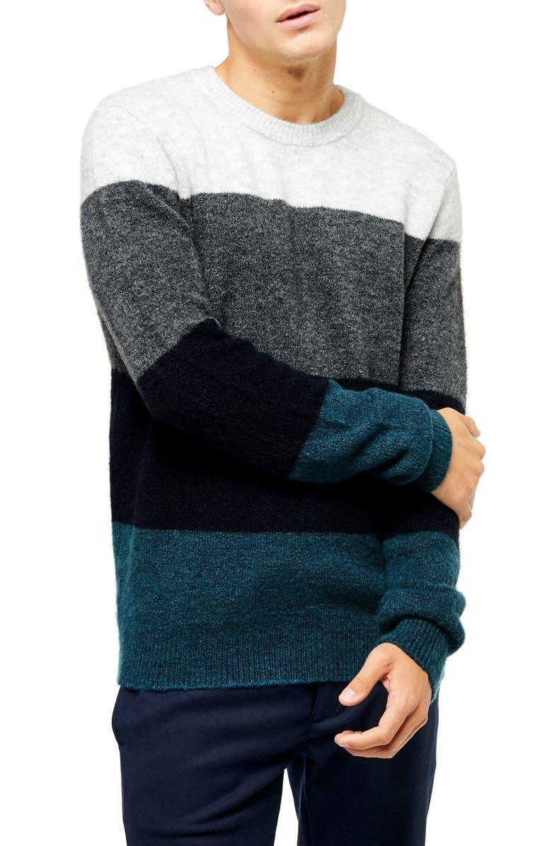 TOPMAN Harlow Classic Fit Colorblock Crewneck Sweater, Main, color, BLUE MULTI