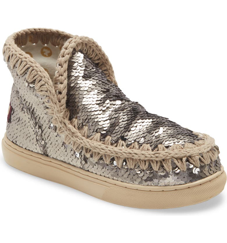 MOU Summer Eskimo Sequin Sneaker Boot, Main, color, SEQUIN GUNMETAL
