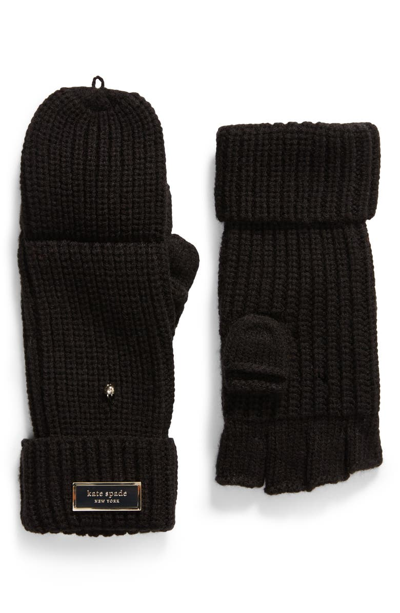 KATE SPADE NEW YORK pop-top mittens, Main, color, 001