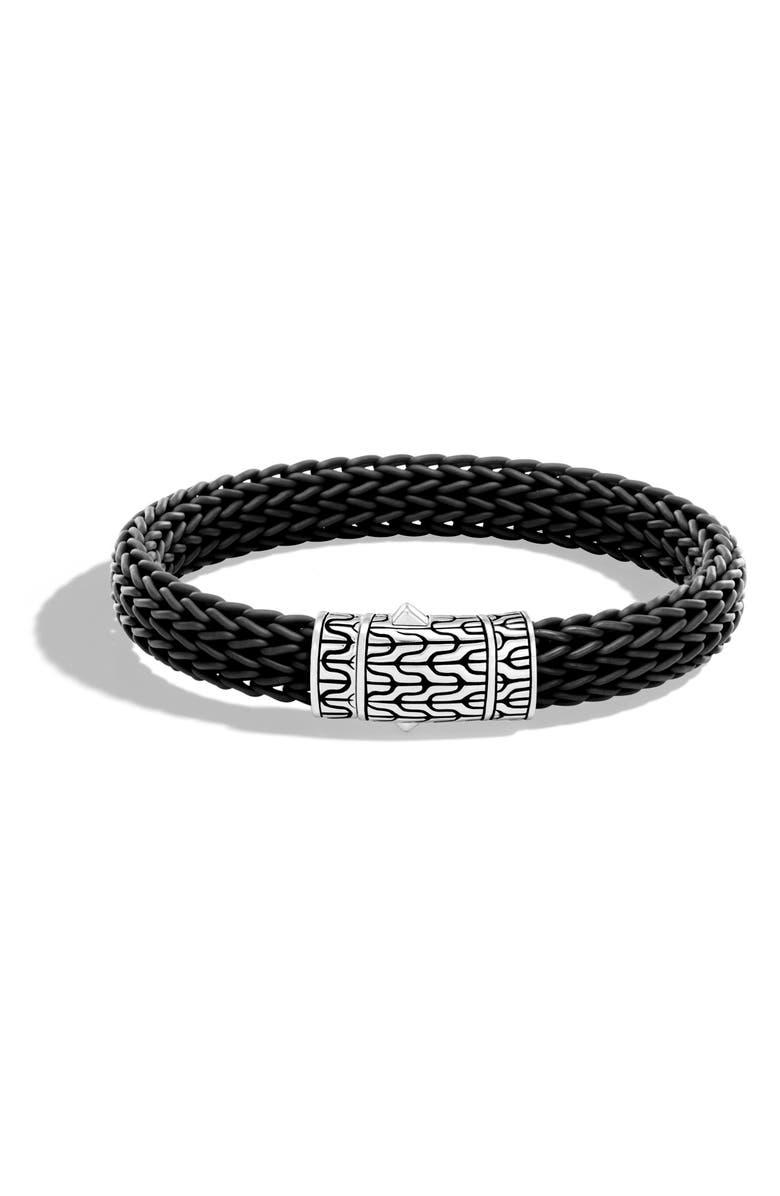 JOHN HARDY Men's Classic Silver Rubber Chain Bracelet, Main, color, SILVER/ BLACK
