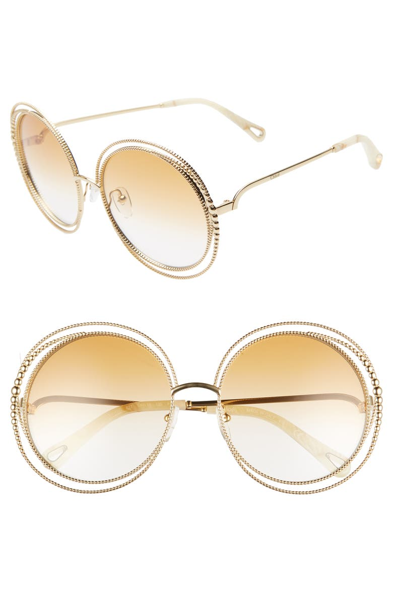 CHLOÉ Carlina 58mm Round Sunglasses, Main, color, GOLD/ GRADIENT BRICK