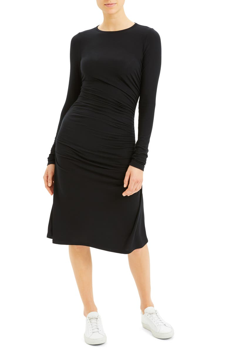 THEORY Long Sleeve Ruched Dress, Main, color, BLACK