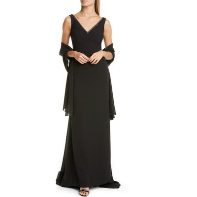 Pronovias Embellished A-Line Georgette Gown With Shawl, Black