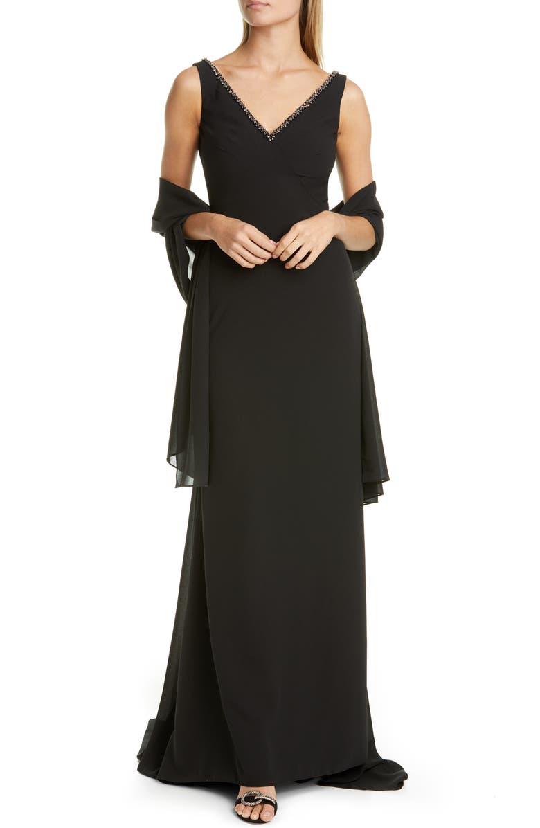 PRONOVIAS Embellished A-Line Georgette Gown with Shawl, Main, color, BLACK