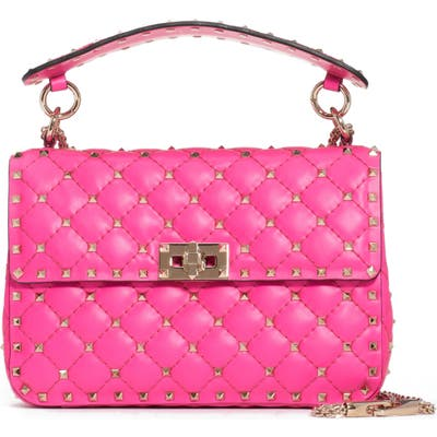 Valentino Garavani Medium Rockstud Spike Leather Shoulder Bag - Pink