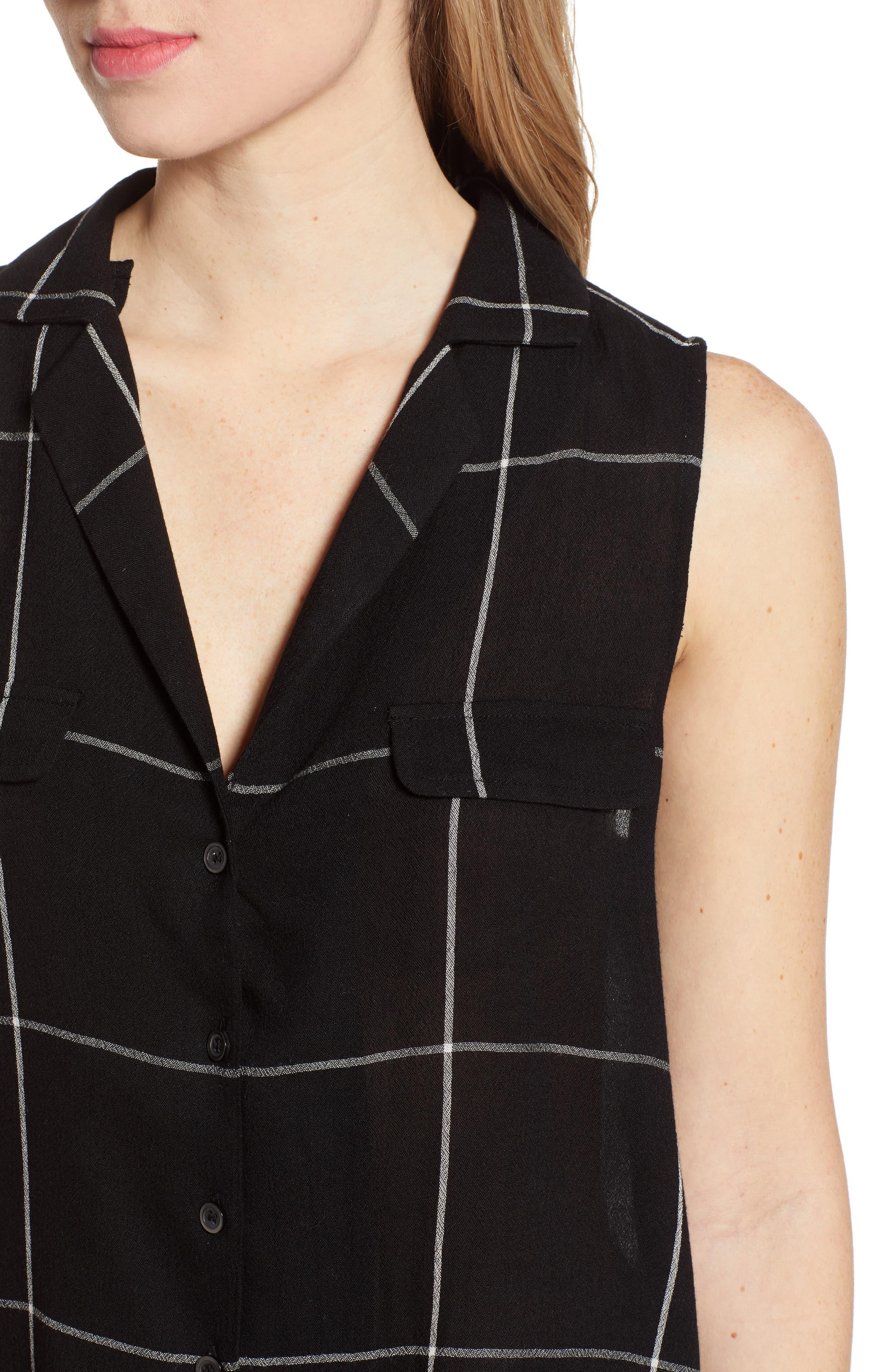 ,                             Sleeveless Shirt,                             Alternate thumbnail 4, color,                             BLACK MAZY WINDOW PANE