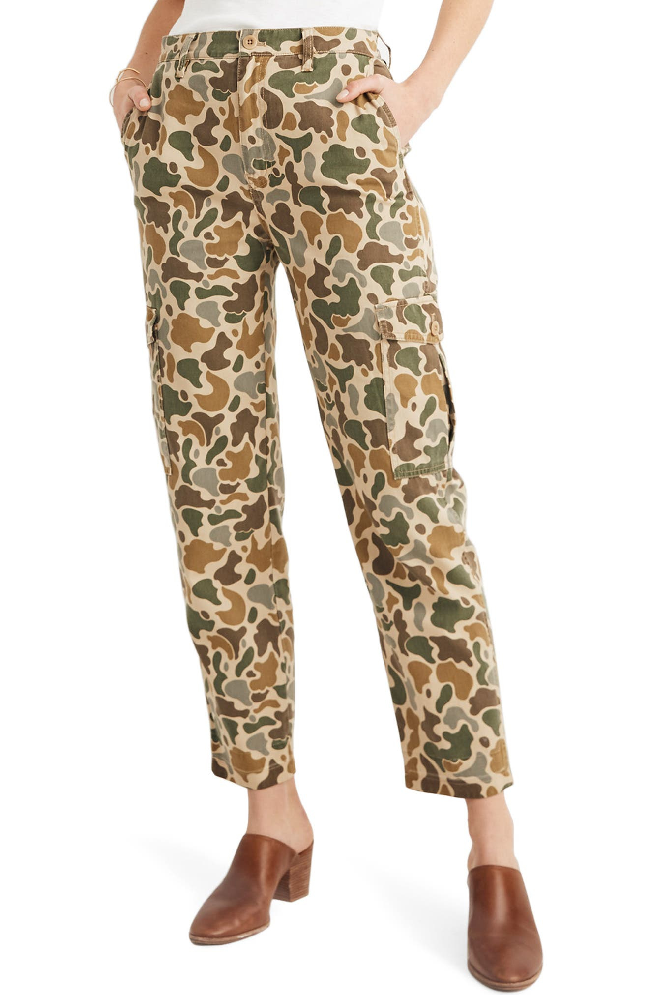 High Waist Camo Cargo Pants, Main, color, VINTAGE CAMO