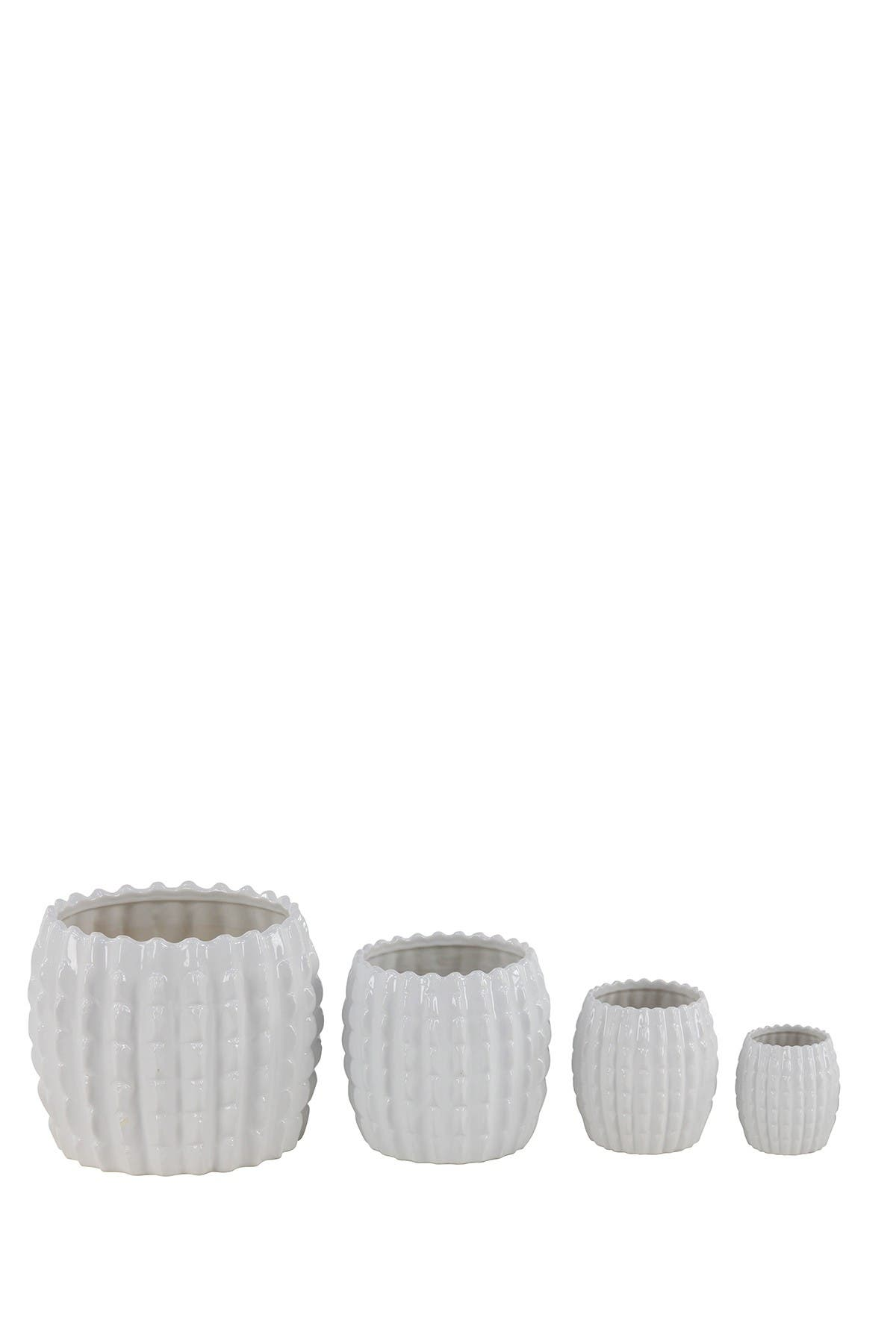 Image of Willow Row Eclectic White Ceramic Planters - Set of 4