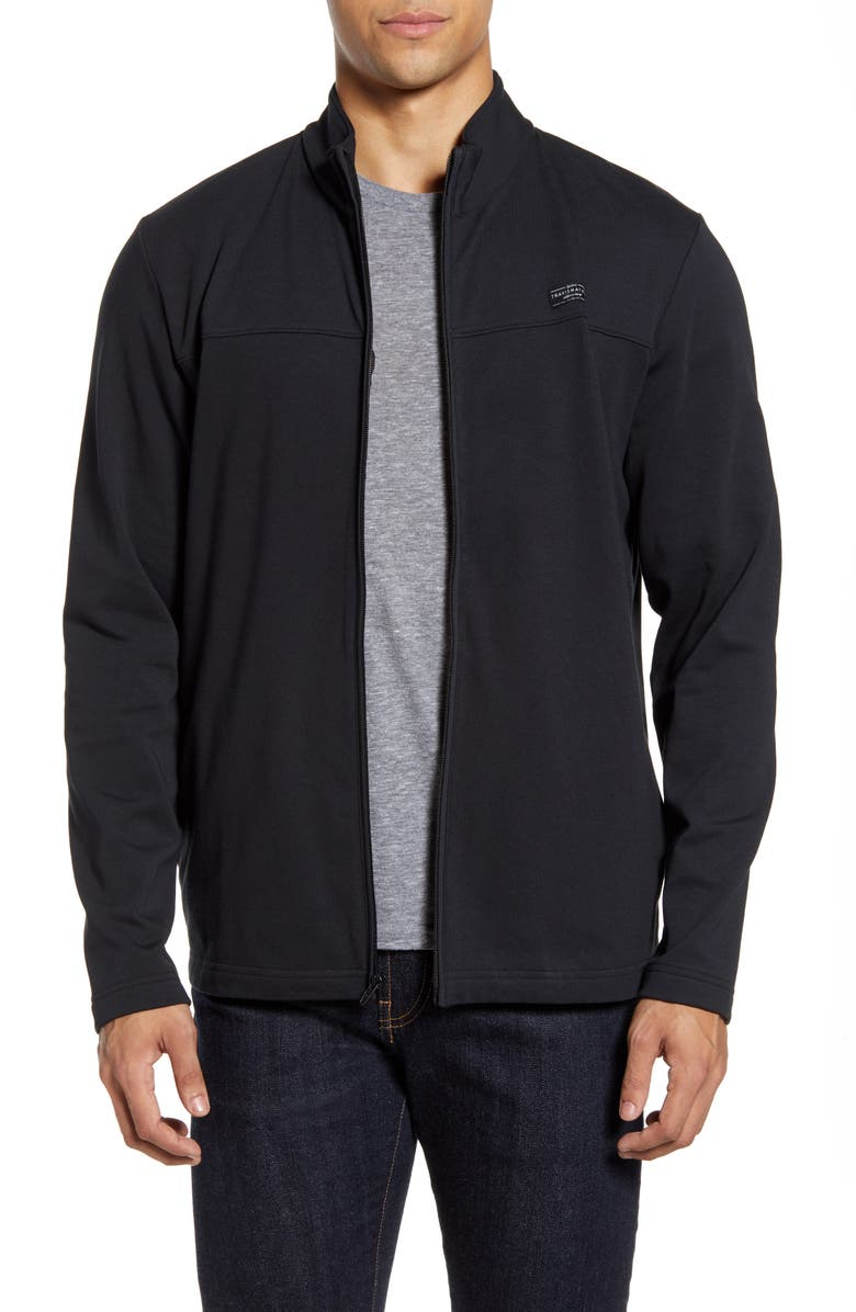 TRAVISMATHEW Cash Out Fleece Jacket, Main, color, BLACK