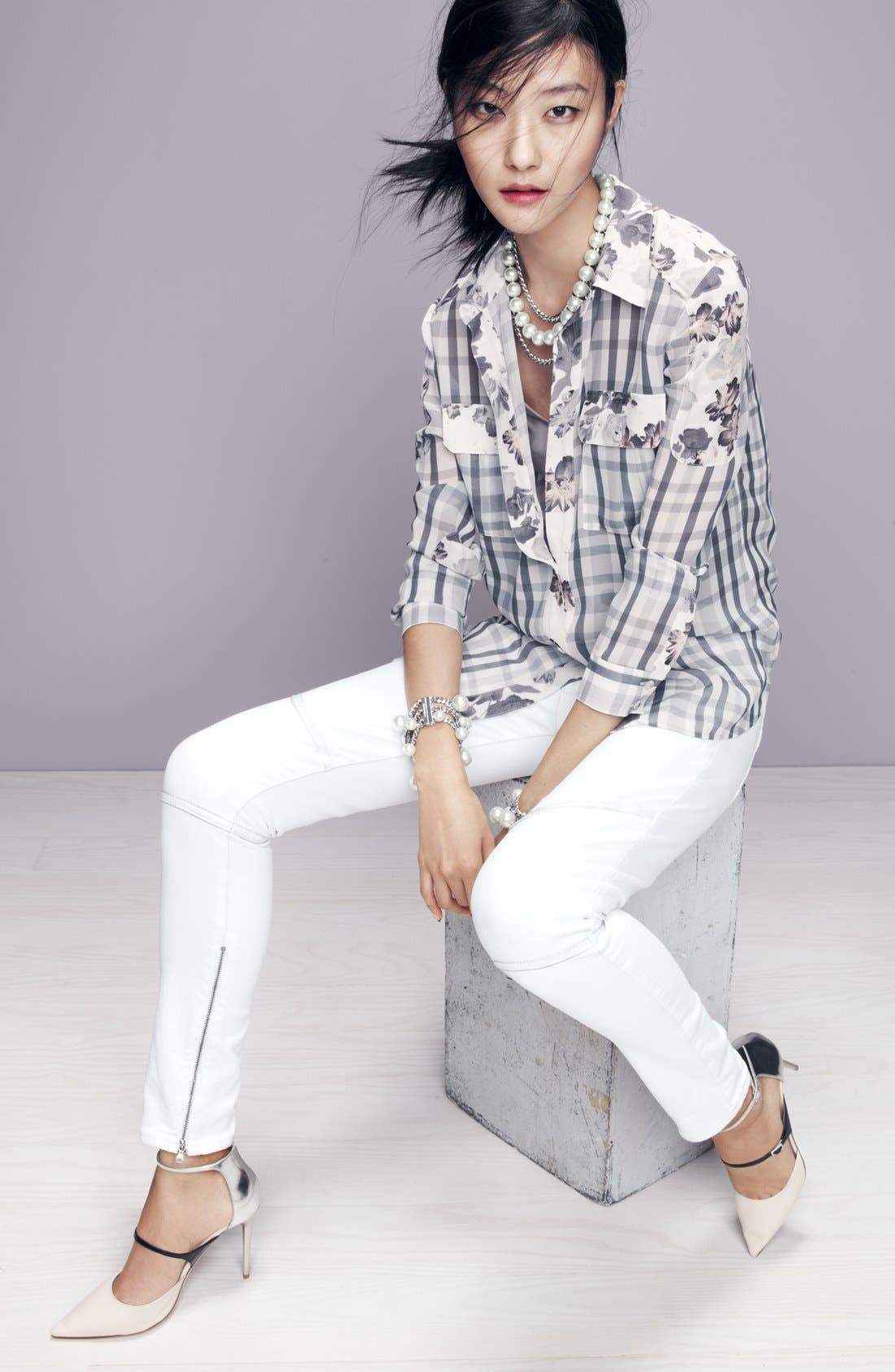 ,                             Denim 'Audrey' Mixed Print Silk Shirt,                             Alternate thumbnail 5, color,                             020