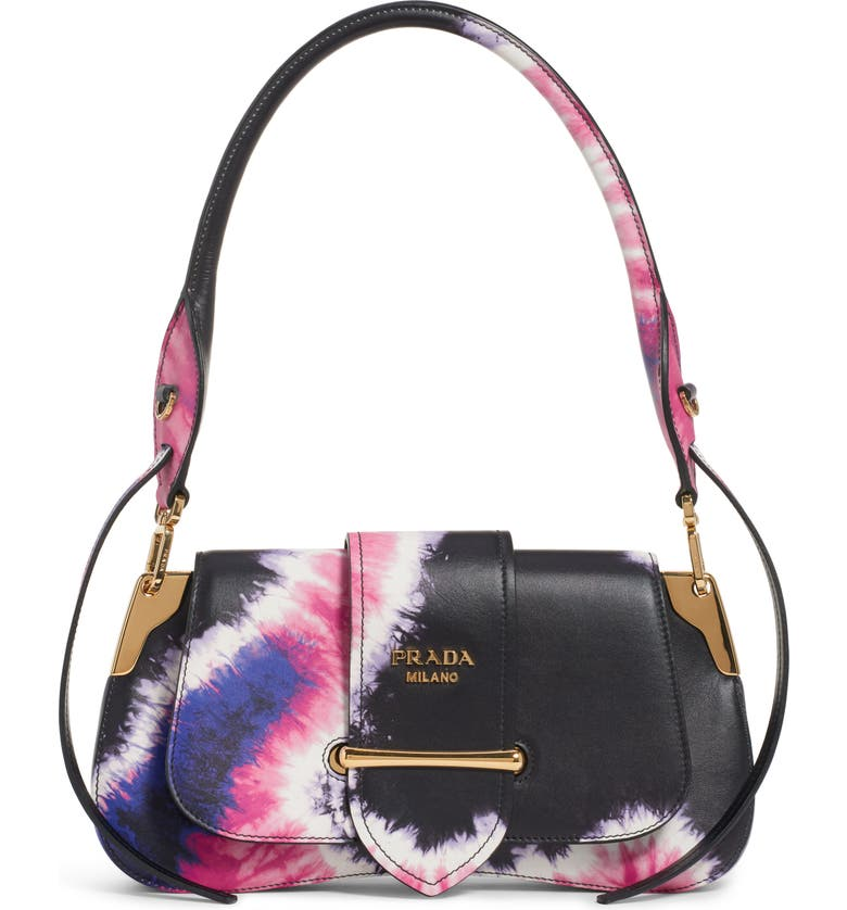 PRADA Tie Dye Leather Top Handle Bag, Main, color, NERO/ PINK