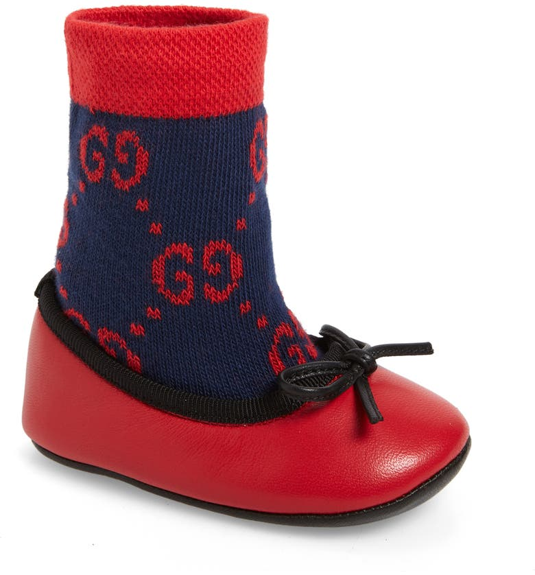 GUCCI Felicie Logo Sock Ballet Flat, Main, color, BLUE/ RED
