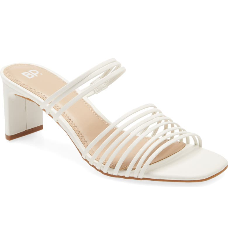 BP. Brittany Slide Sandal, Main, color, WHITE FAUX LEATHER