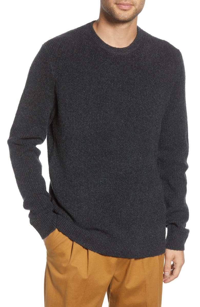 FRENCH CONNECTION Aries Fisherman Sweater, Main, color, CHARCOAL MELANGE