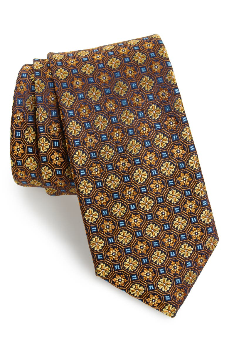 TED BAKER LONDON Medallion Flower Silk X-Long Tie, Main, color, YELLOW