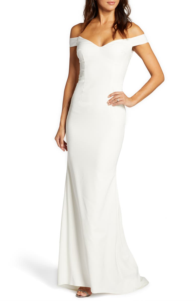 NOEL AND JEAN BY KATIE MAY Alpha Off the Shoulder Trumpet Wedding Dress, Main, color, IVORYDNU