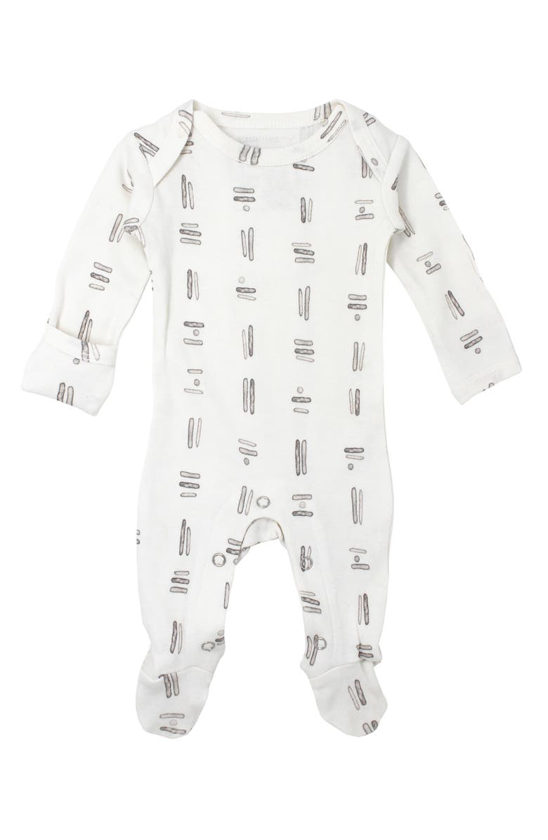 L'OVEDBABY Graphic Organic Cotton Footie, Main, color, GRAY TRIBE