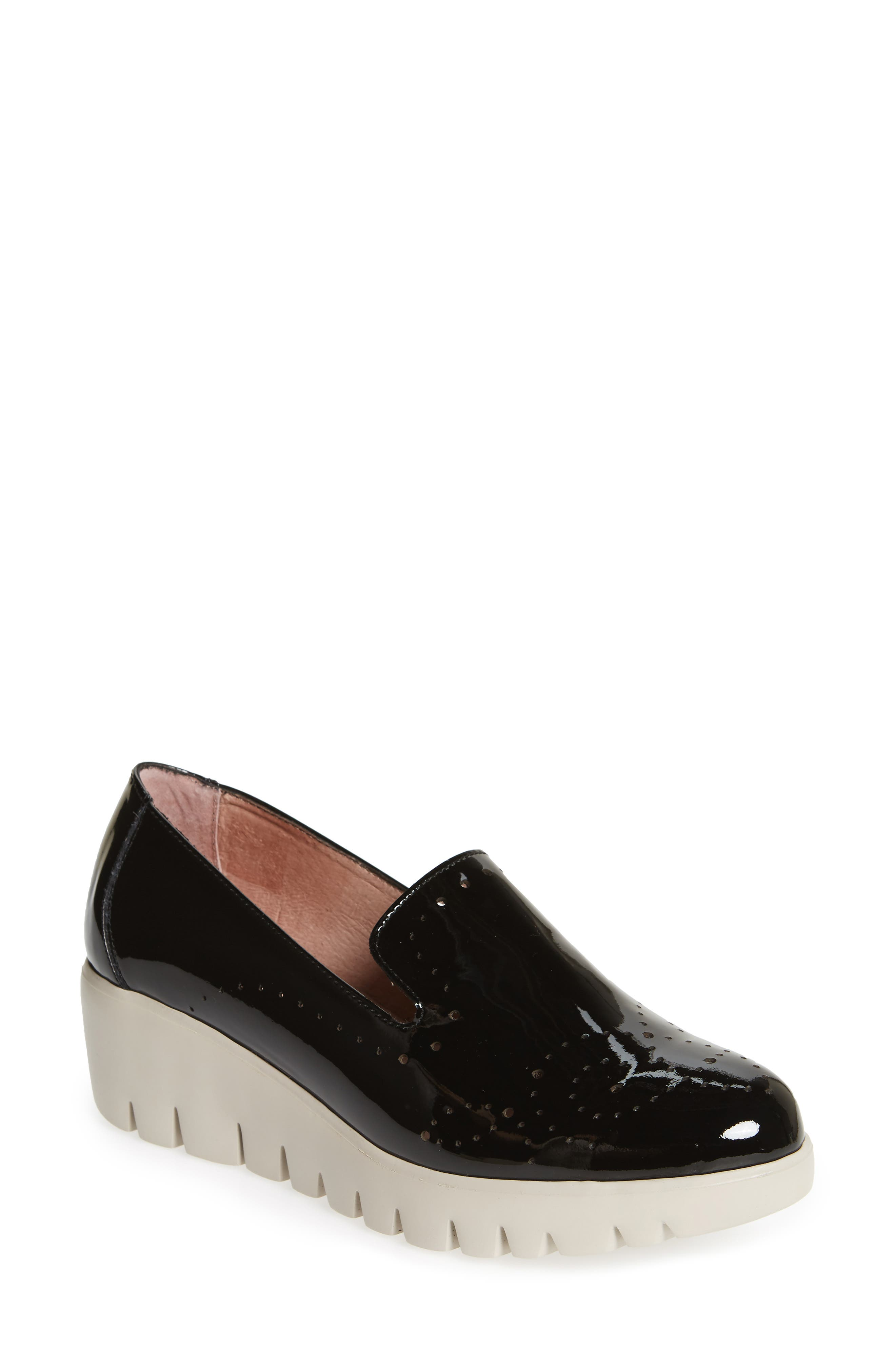 ,                             C-33114 Loafer Wedge,                             Main thumbnail 1, color,                             BLACK LEATHER