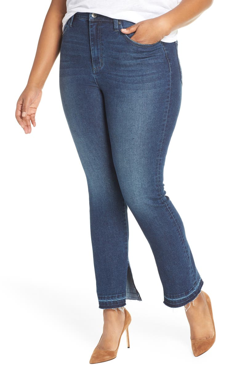 MAXSTUDIO INDIGO Perfect Vintage High Rise Release Hem Straight Leg Jeans, Main, color, SILAS