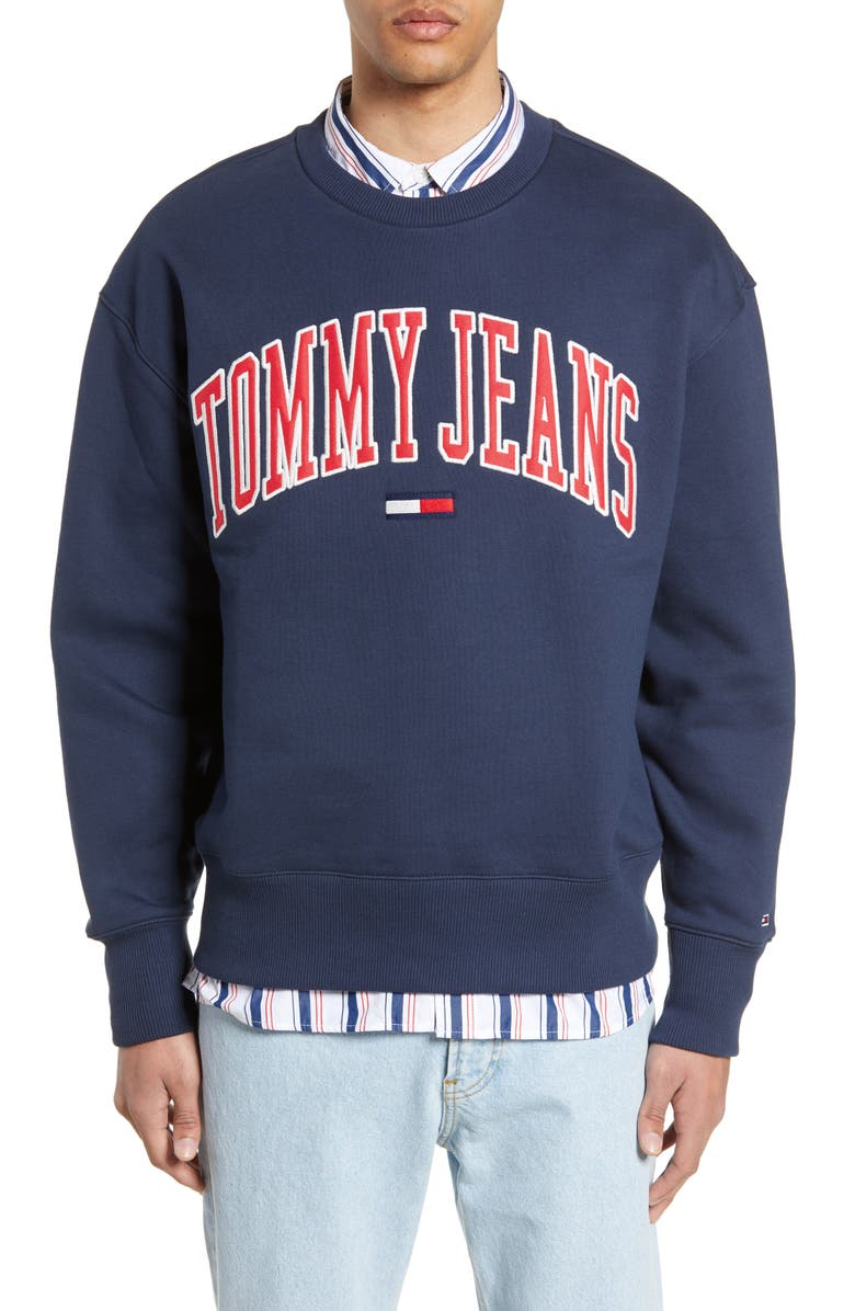 TOMMY JEANS Collegiate Logo Crewneck Sweatshirt, Main, color, 400