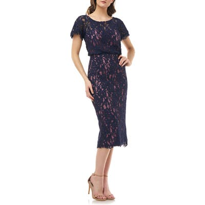 Js Collections Embroidered Lace Blouson Cocktail Dress, Blue