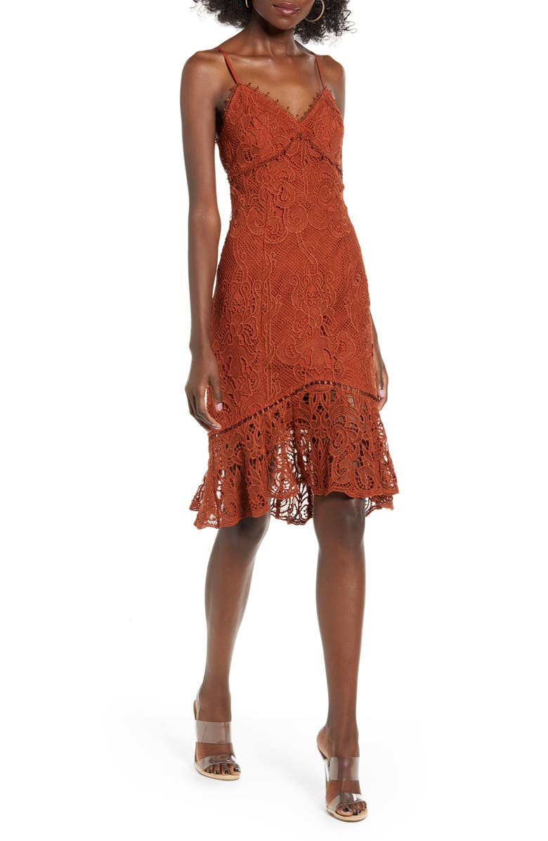 J.O.A. Lace Slipdress, Main, color, SIENNA