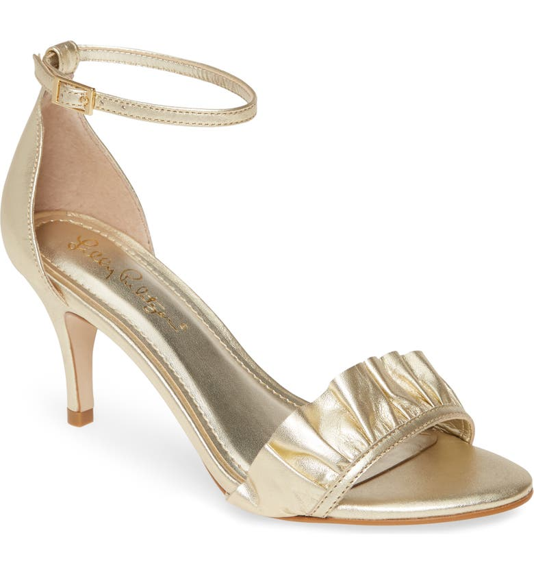 LILLY PULITZER<SUP>®</SUP> Carly Ruffle Ankle Strap Sandal, Main, color, GOLD METALLIC