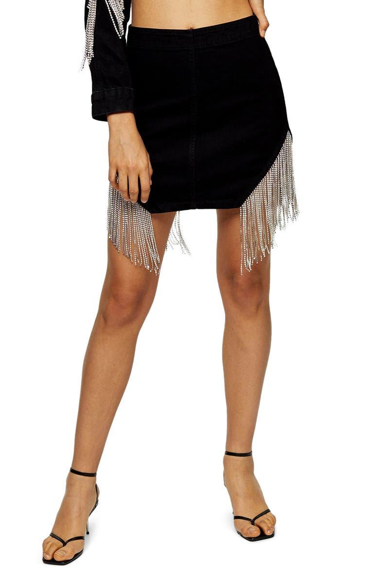 TOPSHOP Crystal Fringe Slit Miniskirt, Main, color, 003