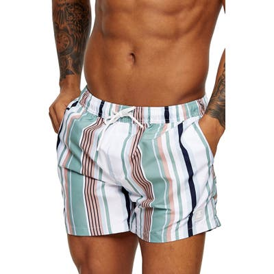 Topman Stripe Swim Trunks, White