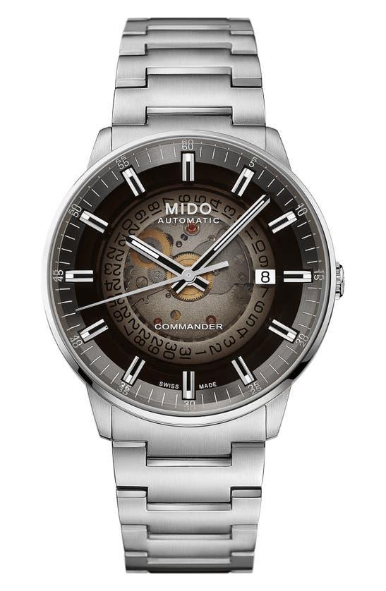 Mido Commander Gradient Skeletal Automatic Bracelet Watch, 40mm In Silver/ Black