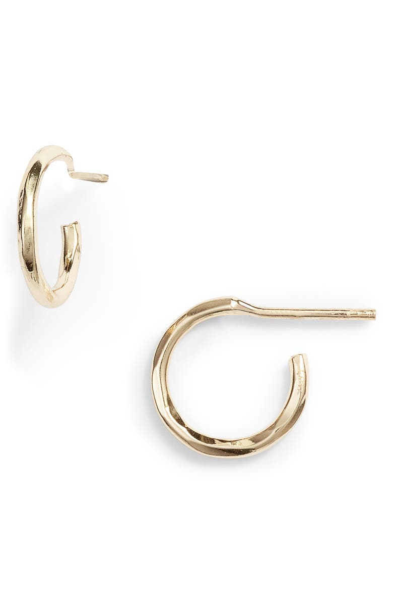 ARGENTO VIVO Hammered Hoop Earrings, Main, color, GOLD