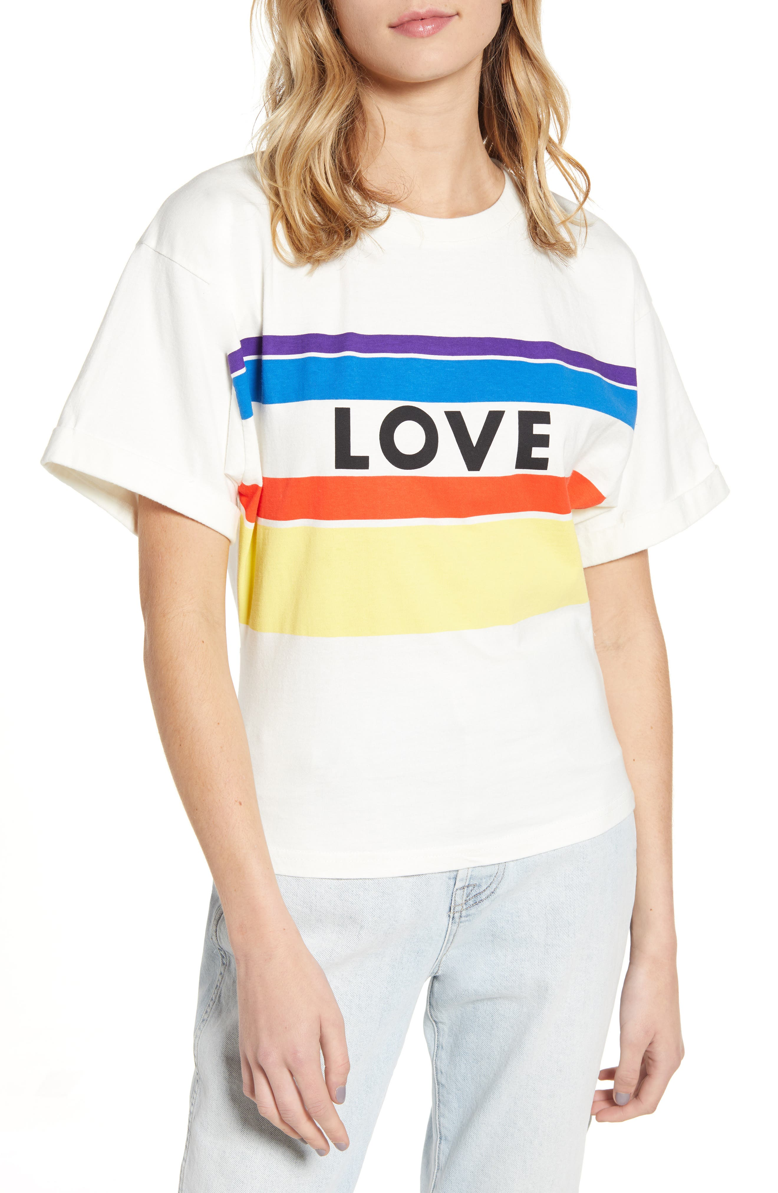 Rebecca Minkoff Cydney Love Stripe Graphic Tee, Ivory